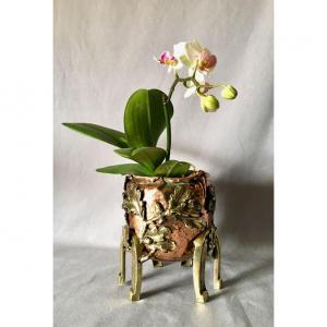 Cache Pot  Art Nouveau  En Cuivre Et Laiton