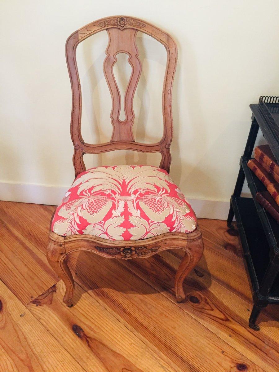 Chaise à Châssis D'époque Louis XV