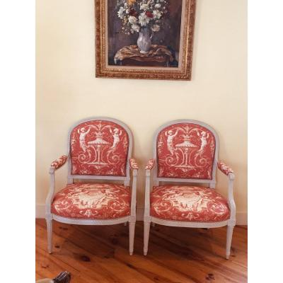 Pair Of Armchairs Louis XVI Style,