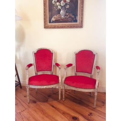 Pair Of Louis XVI Armchairs Stamped