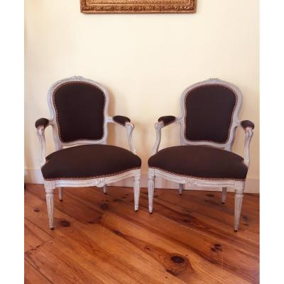 Pair Of Louis XV Period Armchairs / XVI