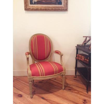 Louis XVI Period Armchair Stamped Pierre Bernard