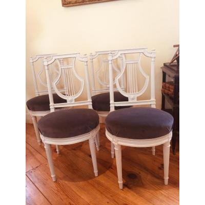 Series Of Four Louis XVI Chairs Stamped Sené