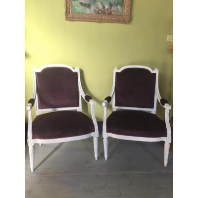Pair Of Louis XVI Period Armchairs Stamped Pluvinet