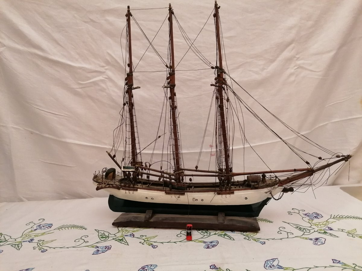 Mid 19th Century Wooden Sailboat