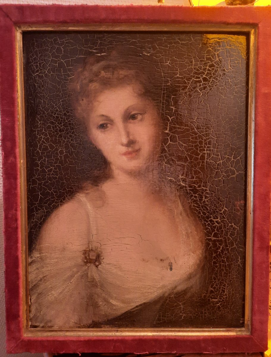 Portrait Of A Young Woman Oil On Wood XIXth Century