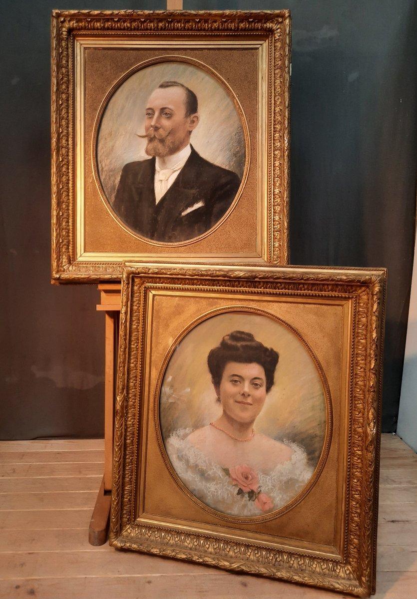Portraits Of Monsieur Léopold Bony And His Wife, XIXth Century