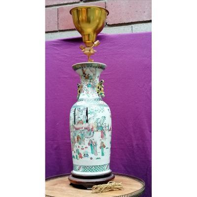 Vase Chine Monté En Lampe