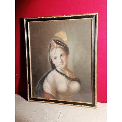 Pastel Femme à La Turque Fin XVIIIème
