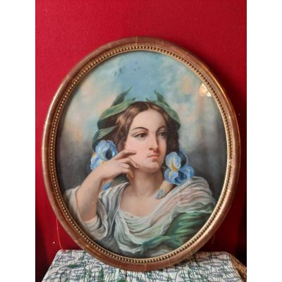 Pastel French School Of The XIXth Young Woman With Irises