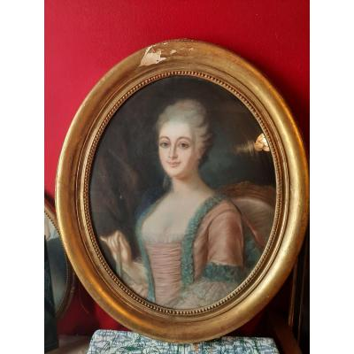 Pastel In Golden Oval Frame, Young Woman With Fan