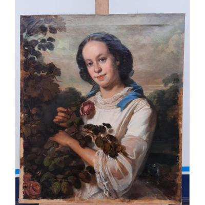 Portrait Of Woman With Rose Nineteenth