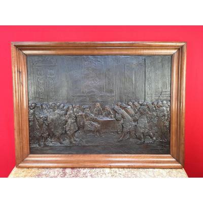Bas-relief en bronze représentant Louis.XIV