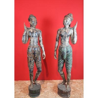 Paire Statues Birman époque XIXème.