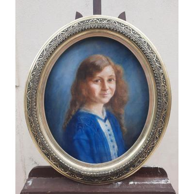 Portrait Of Young Girl In Pastel.