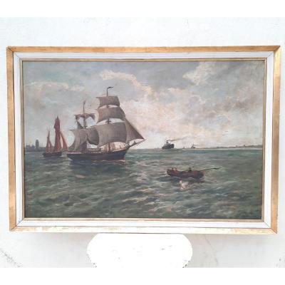 Scene Of Sailboats At Sea Twentieth