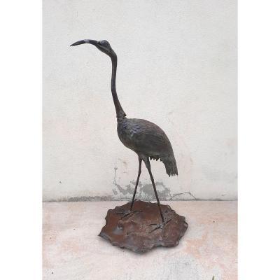Patinated Bronze Heron.
