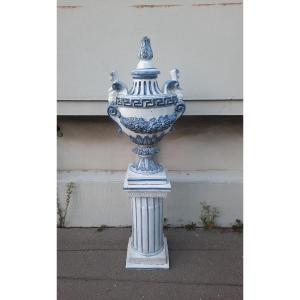 Grande vasque balustre en céramique XXème