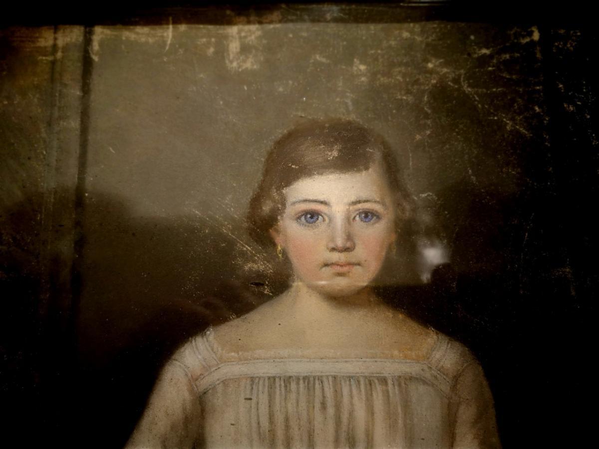 Pastel, Portrait d'Enfant XIXème-photo-3