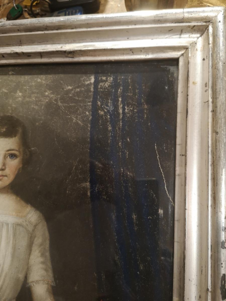 Pastel, Portrait d'Enfant XIXème-photo-4