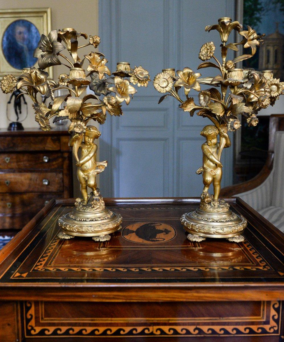 Paire De Candélabres En Bronze Doré