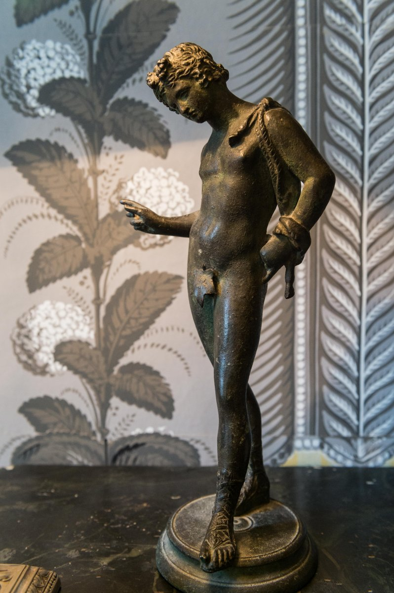 Statuette Of Narcissus In Patinated Bronze