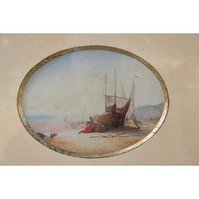 Boats On The Beach- Watercolor Dated 1837