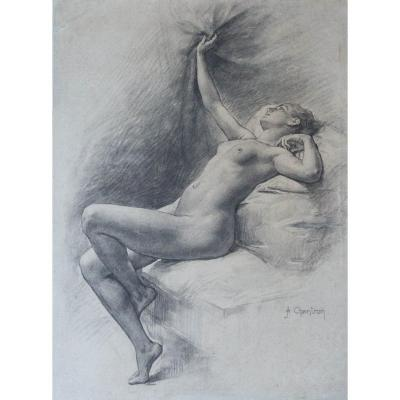Nude - Drawing By Alexandre- Jacques Chantron (1842 - 1918)