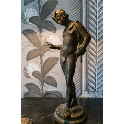 Statuette De Narcisse En Bronze Patiné
