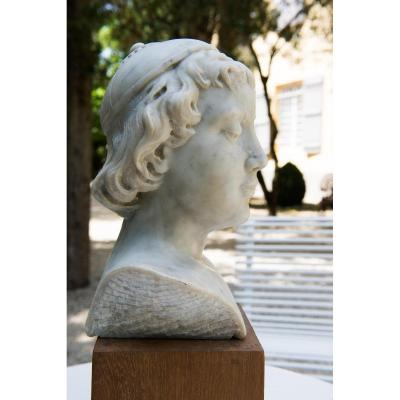 Nineteenth Marble Head Of A Young Man In Florentine Taste