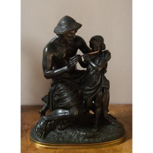 Bronze La Leçon De Flûte De Jacques Antoine Théodore Coinchon (1814-1881)