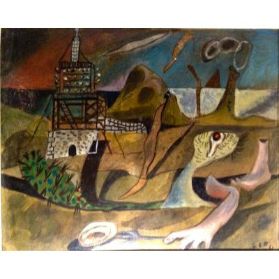 Surrealist composition, 1941 Oil on vellum, 21.5 X 26.5 cm Signed and dated lower right