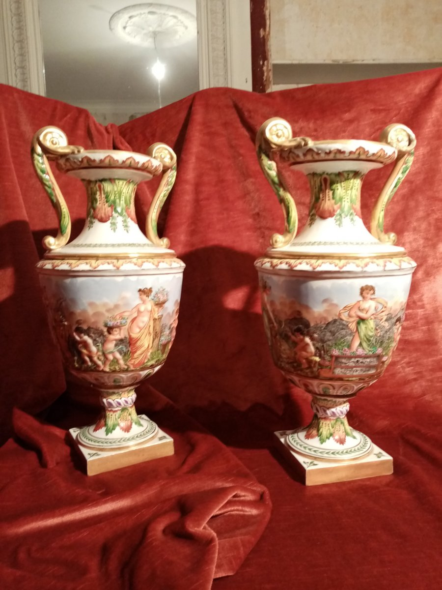 Pair Of Baluster Vases In Capodimonte