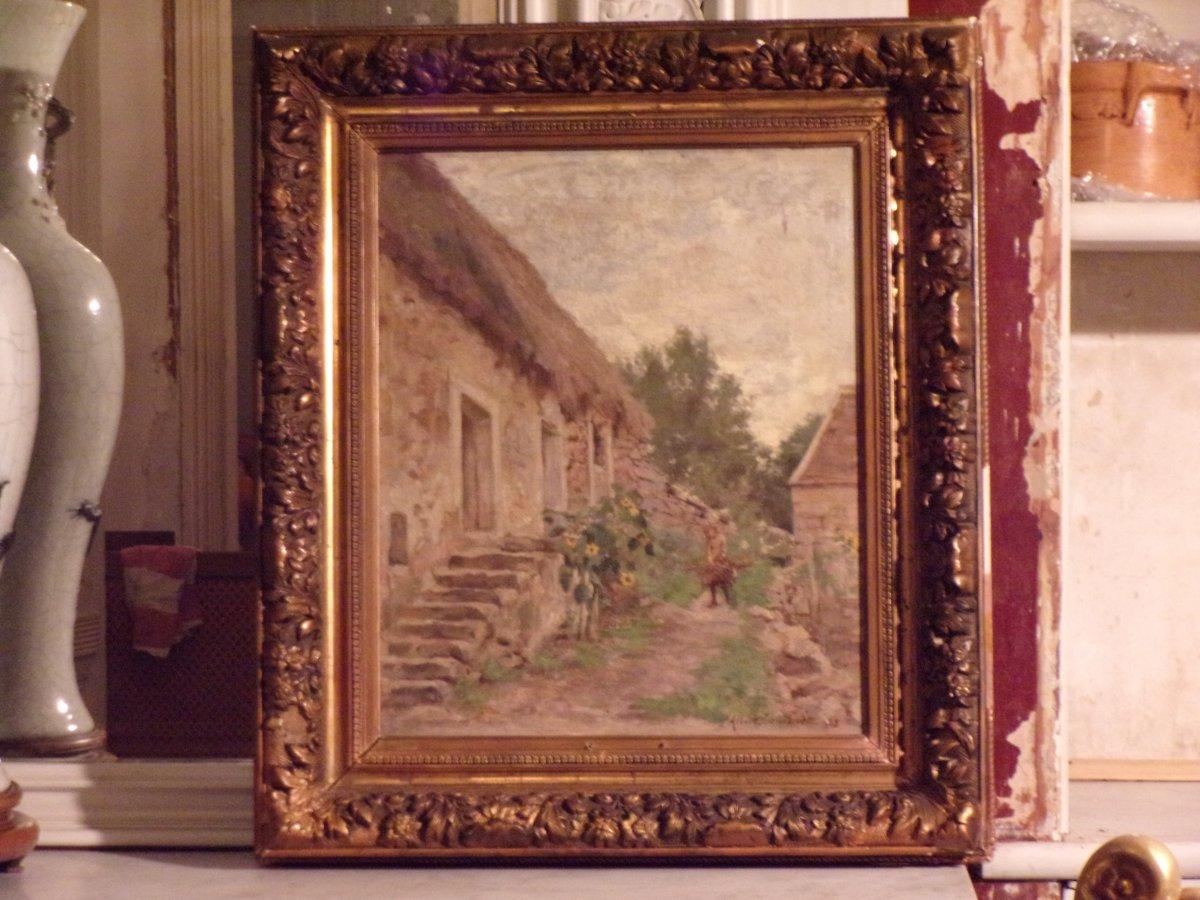 """""""Fillette à la corvée de bois""""  huile sur toile fin XIXe siècle"""
