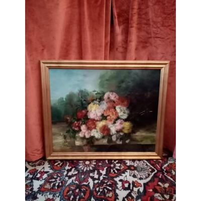 Bouquet Of Dalhias On A Nineteenth Entablature