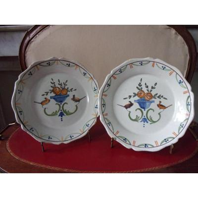 Pair Of Earthenware Plates From Nevers