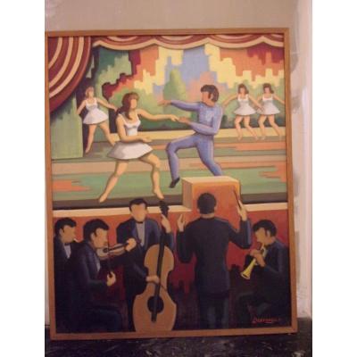 """""""Le ballet"""" huile sur toile signée DEVENAGES"""