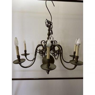 Dutch Bronze Chandelier