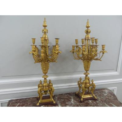 Pair Of Candelabra Attributed To Ferdinand Barbedienne