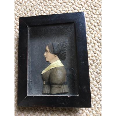 Silhouette Miniature En Cire D'époque Charles X