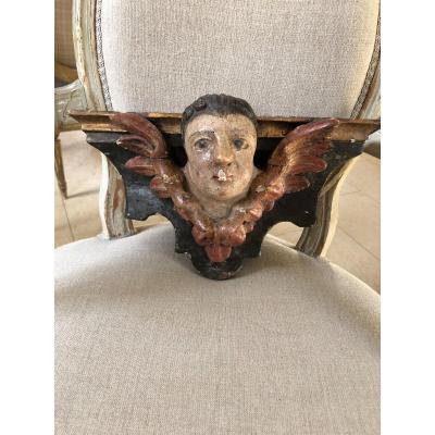 Tete D'ange En Bois Sculpté