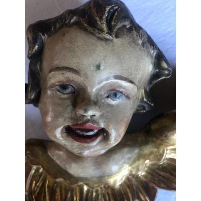 Tête D'ange  En Bois Sculpté