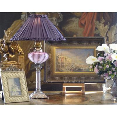 Antique Oil Lamp With Rare Pink Glass Tank, 19th. Electrified.