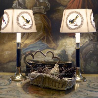 Candle Light Pair Art Deco Metal Gold And Ebony (?), XX