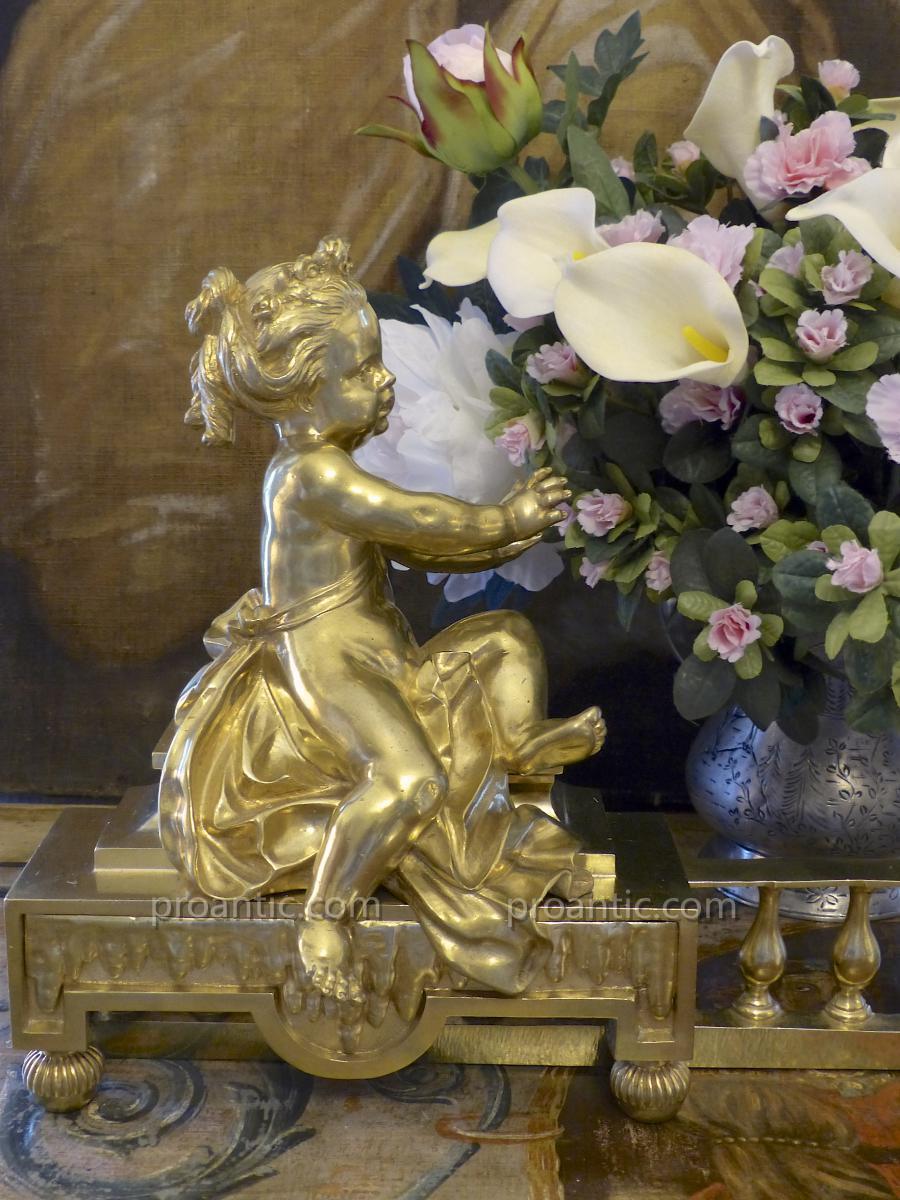Paire de Chenets, Putti, Bronze, ép. Napoléon III, XIXe