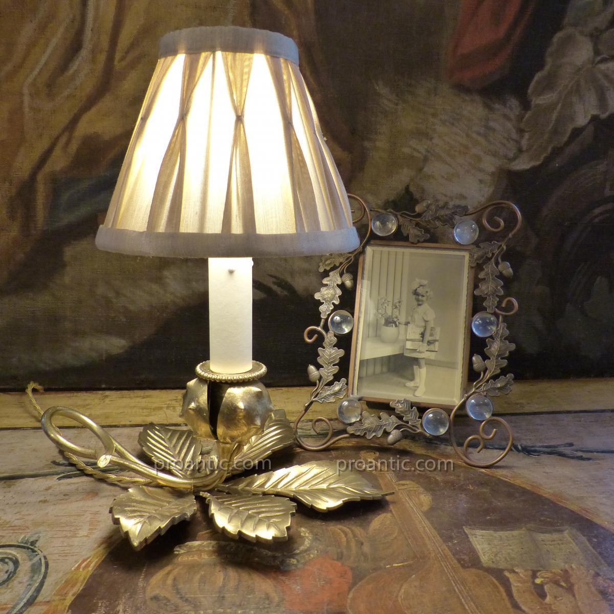 Lampe Bougeoir Naturaliste, Bogue Et Feuille De Marronnier, Début XXe