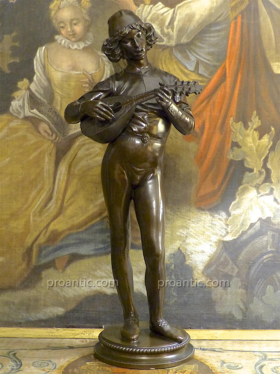 "Bronze Statue ""the Florentine Singer"", Paul Dubois, 19th Century"