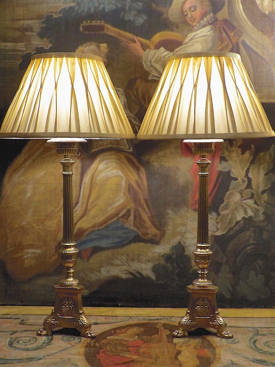 Paire de grands pique-cierges en bronze doré, XIXe