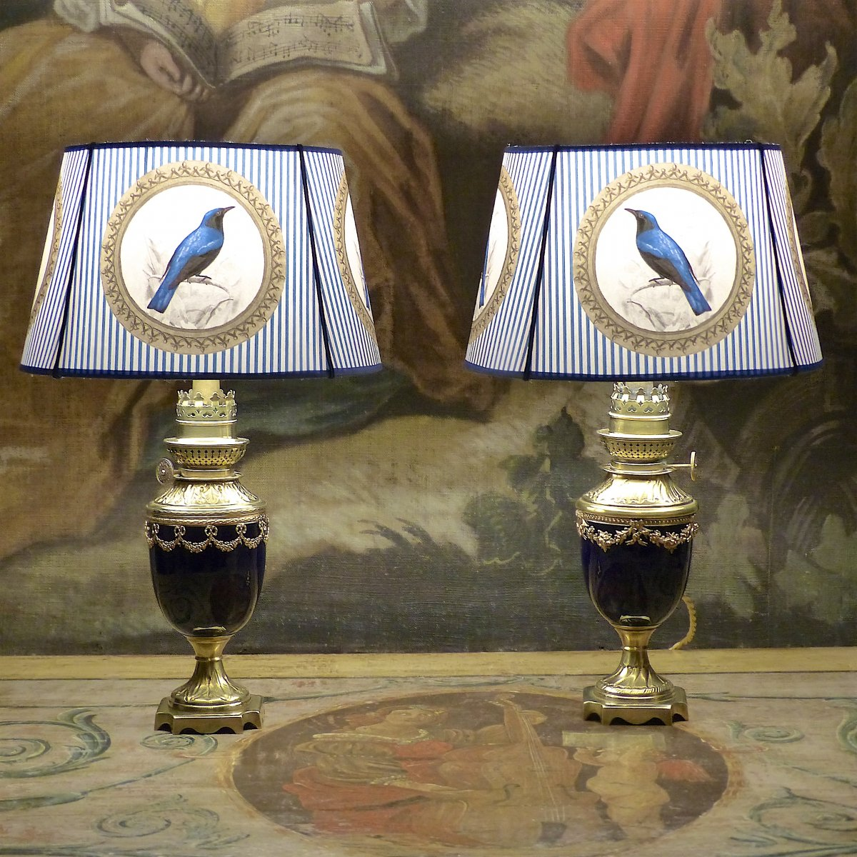 Pair Of Petroleum Lamps In Sèvres Blue Porcelain, Louis XVI Style, 19th Century