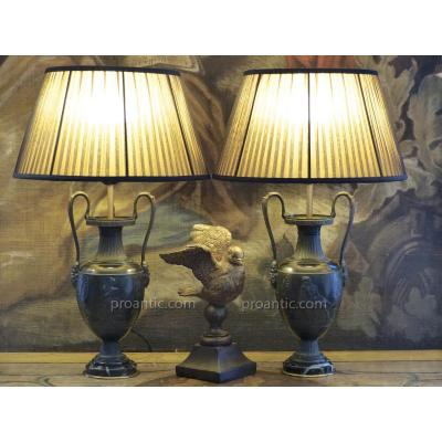 Pair Of Lamps Representing Antique Vases, 19th Century